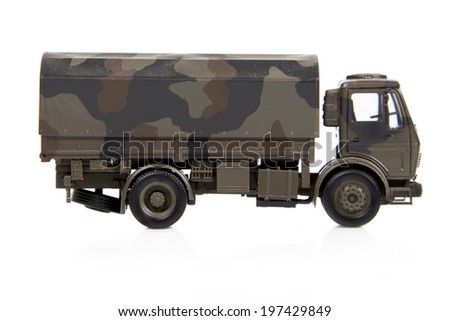 toy war truck is isolated on white background - stock photo