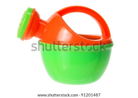 Toy Watering Can on White Background