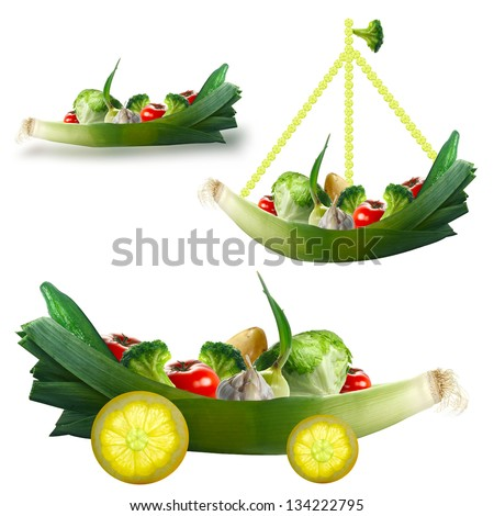 Toy with fresh vegetables on a white background. The concept for children - stock photo
