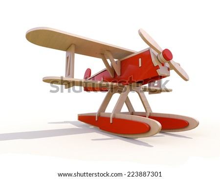 Toy wooden plane on a white background - stock photo