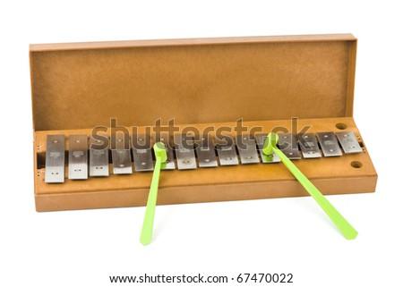 Toy xylophone isolated on white background - stock photo