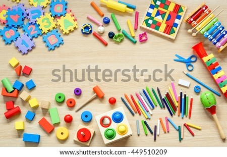 Toys and stationery for kids to play and learn / Back to school concept - stock photo