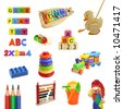 toys collection isolated on white background,cut out,shadeless - stock photo