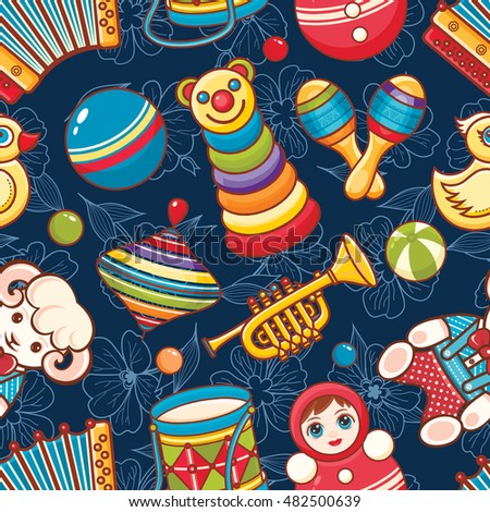 Toys for baby. Colorful image. Seamless pattern. Raster