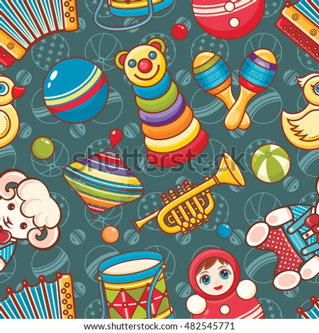 Toys for baby. Seamless pattern. Colorful image. Cartoon style. Raster