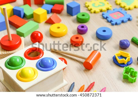 Toys for kids to play and learn / Back to school concept - stock photo