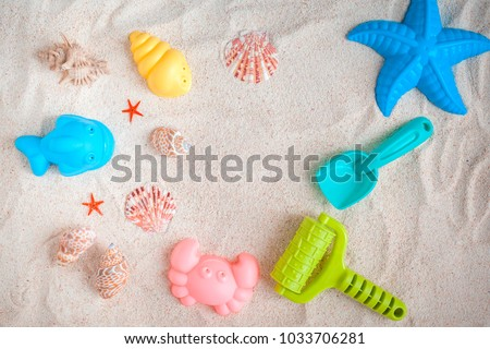 Toys for playing with sand. View from above.
