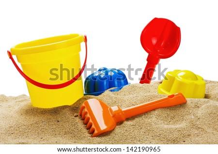 toys for sandbox isolated on white background - stock photo