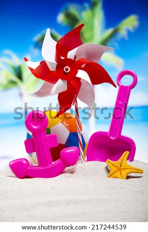 Toys for the beach, vacation - stock photo
