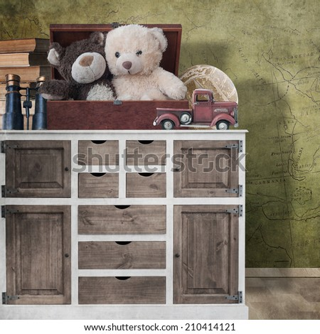 Toys on the dresser - stock photo