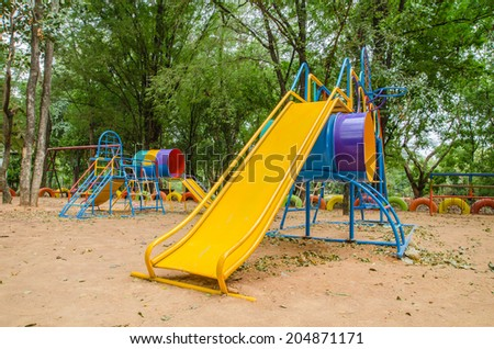 Toys on the playground with beautiful colors.