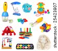 Toys set isolated on a white background - stock photo