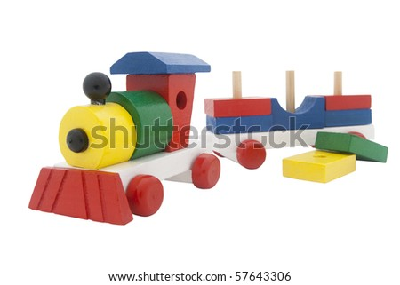 toys train, multicolor wooden blocks set, isolated on white background. clipping path included - stock photo