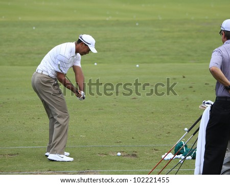 TPC SAWGRASS GOLF COURSE, PONTE VEDRA, FL, USA �MAY 08 :  Tiger Woods  (USA) at The Players championship, PGA Tour, on practice day May 08, 2012,  at  The TPC Sawgrass, Ponte Vedra, Florida, USA. - stock photo
