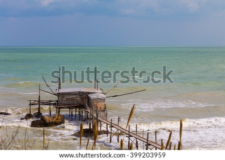 Trabucco, trebuchet, trabocco - traditional fishing houses in southern Italy