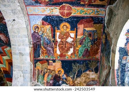 TRABZON, TURKEY - FEB 19, 2013: Frescoes in the church of Hagia Sophia in Trabzon, Turkey. - stock photo