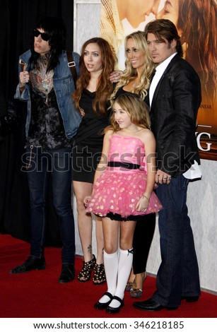 "Trace Cyrus, Brandi Cyrus, Noah Cyrus, Tish Cyrus and Billy Ray Cyrus at the World Premiere of ""The Last Song"" held at the ArcLight Cinemas in Hollywood, USA on March 25, 2010. - stock photo"