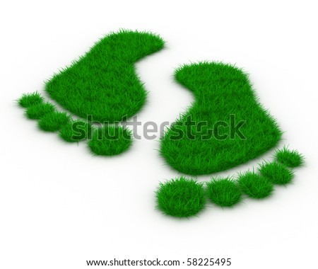 Trace foot from grass. Isolated 3D image - stock photo