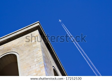 Trace of the plane flying in the sky