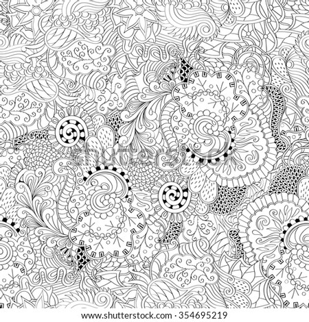 Tracery binary monochrome pattern. Mehendi carpet design. Neat even harmonious calming doodle texture. Also seamless. Indifferent discreet. Ambitious bracing usable, curved doodling mehndi.  - stock photo