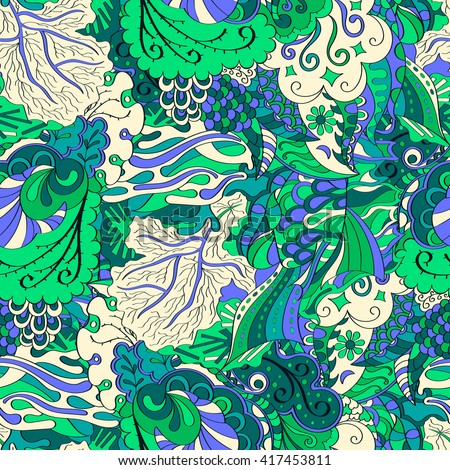 Tracery seamless calming pattern. Mehendi design. Ethnic blue green harmonious doodle texture. Indifferent discreet. Curved doodling mehndi motif.
