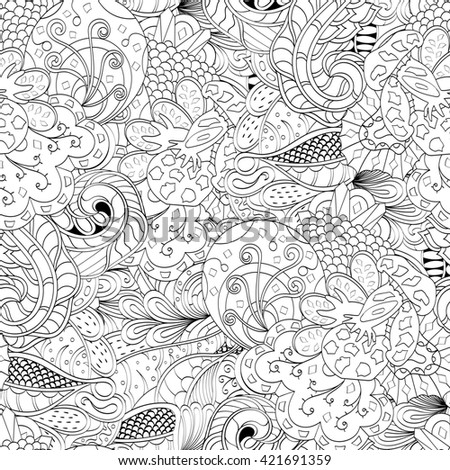 Tracery seamless calming pattern. Mehendi design. Ethnic monochrome binary doodle texture. Curved doodling mehndi motif. Abstract ornament for fabric or printing.