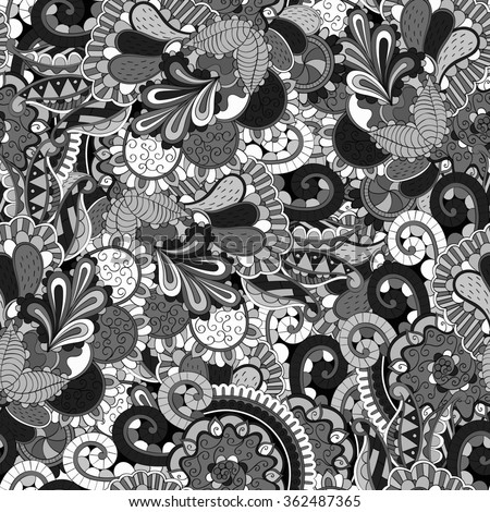Tracery seamless calming pattern. Mehendi design. Neat even grayscale harmonious doodle texture. Algae sea motif. Indifferent discreet. Ambitious bracing usable, curved doodling mehndi.