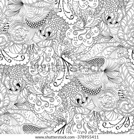 Tracery seamless calming pattern. Mehndi design. Neat even monochrome binary harmonious texture. Algae sea motif. Ethnically indifferent. Ambiguous usable bracing, curved doodling mehendi.  - stock photo