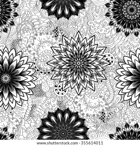 Tracery seamless pattern calming. Mehndi flowers design. Neat even doodle binary harmonious texture. Algae sea motif. Ethnically indifferent. Ambiguous usable bracing, curved doodling mehendi.  - stock photo