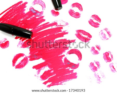 Traces from lipstick on a white background