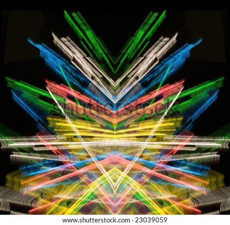 Traces of street illumination.Symmetrical montage. - stock photo
