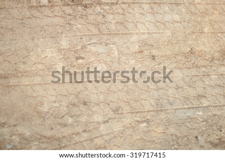 traces of the tread is on the sand - stock photo