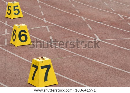 Track and field, as well as the starting frame number box - stock photo
