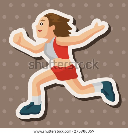 Track and field athletes , cartoon sticker icon - stock photo