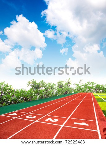 Track and field stadium under the blue sky