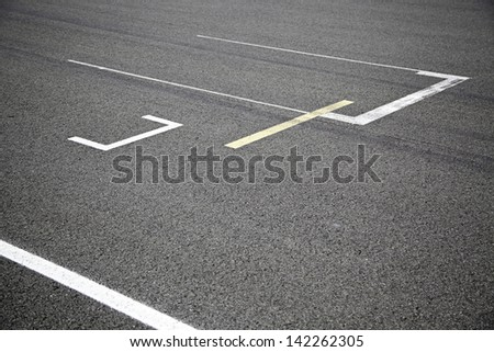 Track competition, detail of a section of a road in competition - stock photo