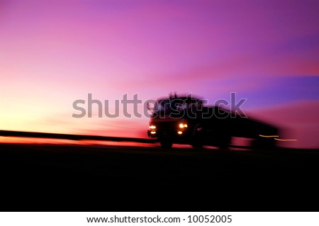 Track in Motion on Highway - stock photo