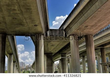 Track of Singapore mass rapid train (MRT) against blue sky.  - stock photo