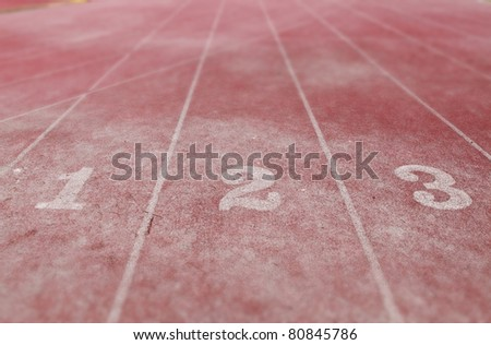 Track position number on a athletic running track. - stock photo