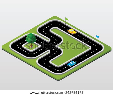 Track racing with cars and trees - stock photo