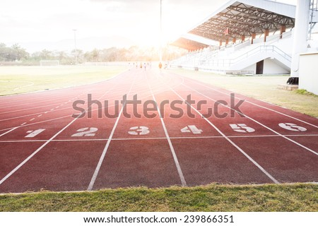 Track runing in sport club - stock photo