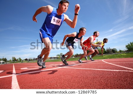 Track runners - stock photo