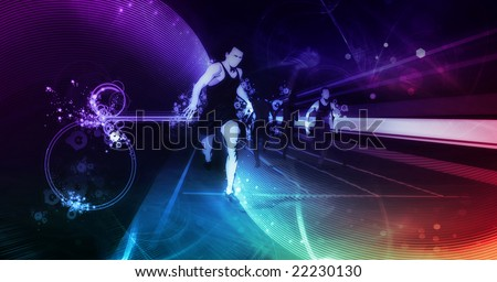 track runners illustration  on digital background - stock photo