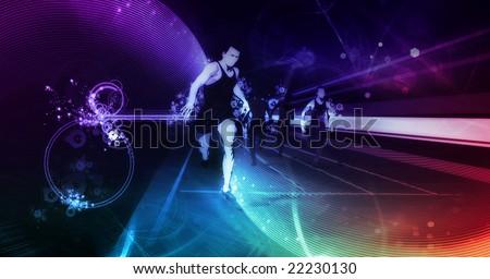track runners illustration  on digital background - stock photo