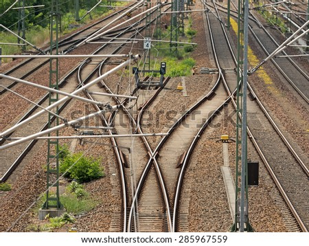 Track systems with overhead lines and switch - stock photo