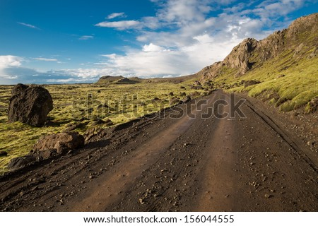 Track through Iceland landscape - stock photo