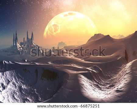 Track through snowy mountains to alien futuristic city with huge fiery planet in orbit above. - stock photo