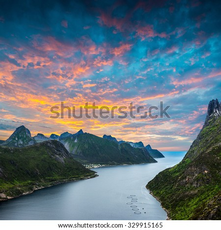 Track to Barden. Norwey,island Senja - stock photo