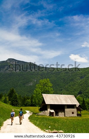 Tracking and adventurous walk in the tranquil nature - stock photo