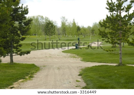 tracks for golf of the car on golf floor - stock photo